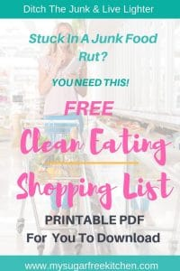 clean eating shopping list printable for download
