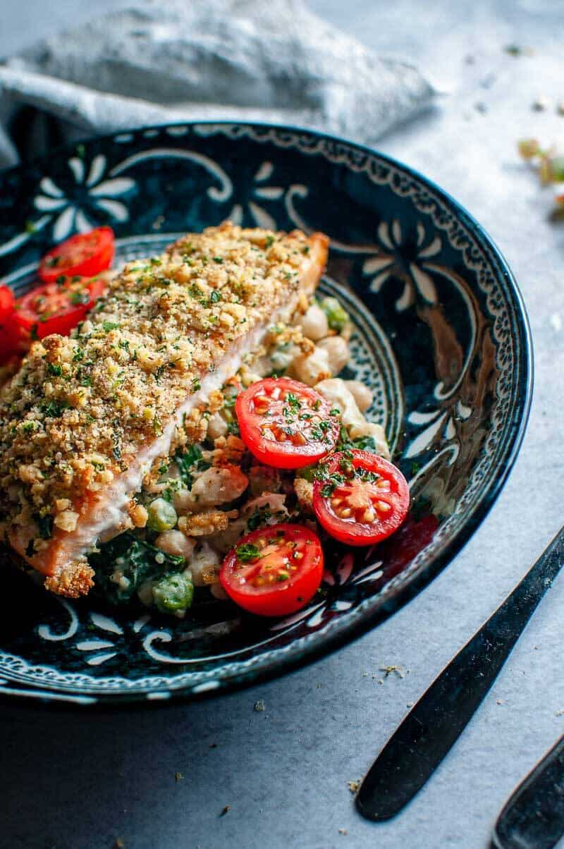 walnut crumbed salmon with salad