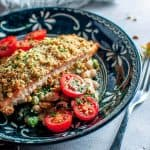 crumbed salmon with walnut crust