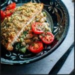 walnut crumbed salmon with butter bean salad