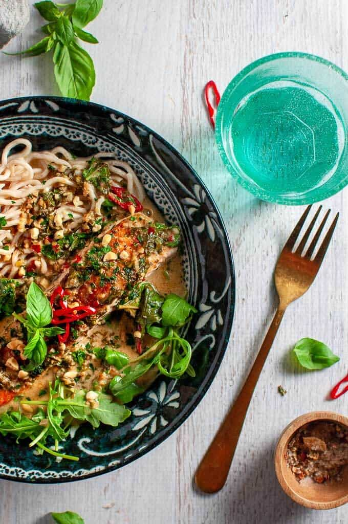 Coconut Lime Salmon with noodles, basil and chilli