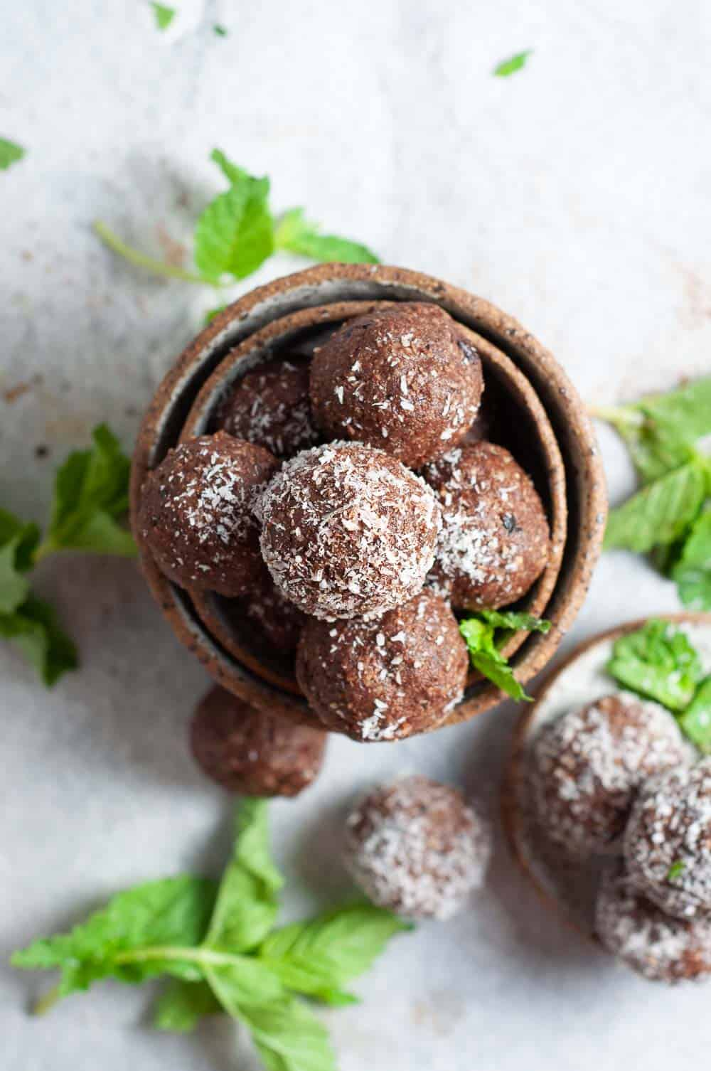 Choc Mint Bliss Balls in a bowl