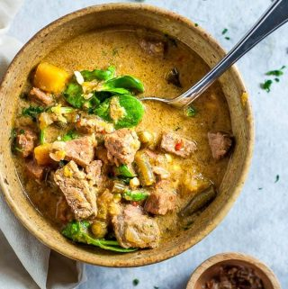 Slow Cooker Thai Green Beef Curry in a bowl