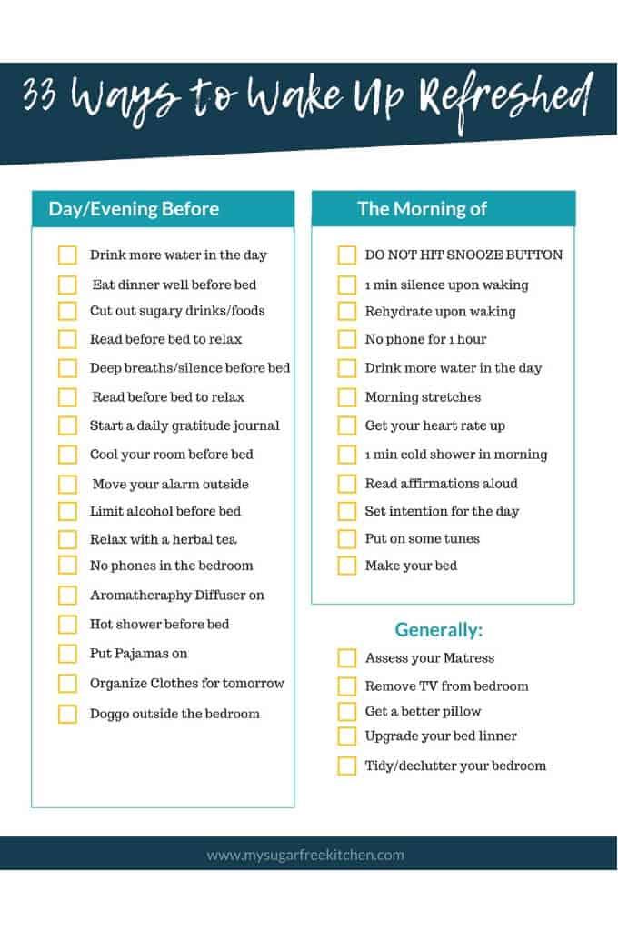 wake up refreshed checklist printable