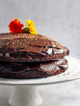 Chocolate Avocado Cake on a white plate