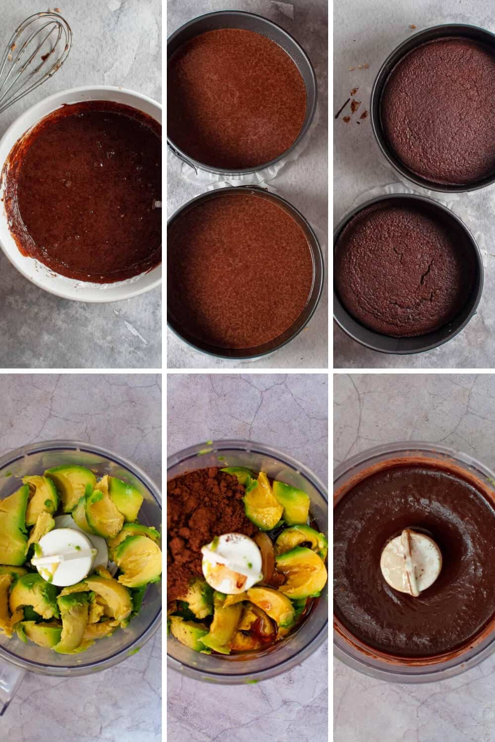 Chocolate Avocado Cake preparation collage two