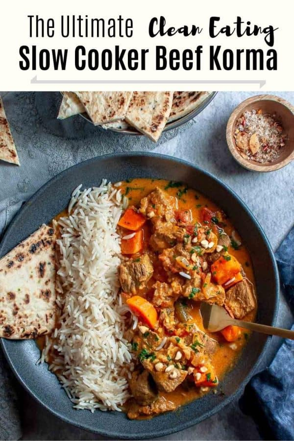 Delicious tender and juicy slow cooker beef korma curry bowls