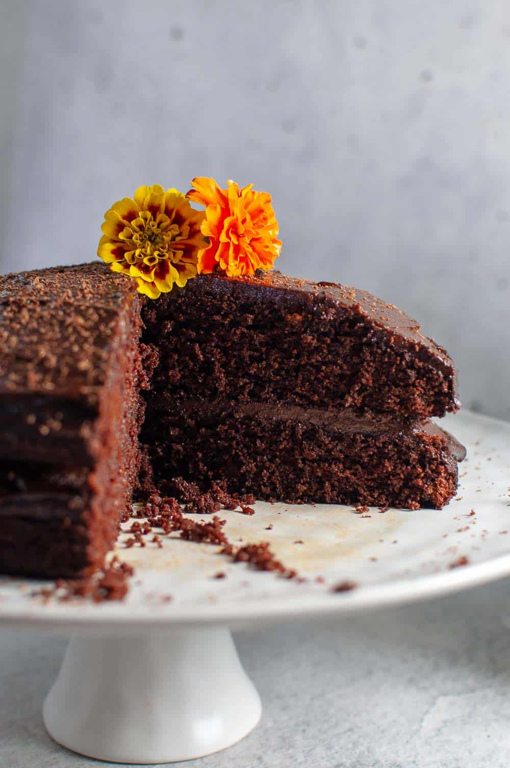 Chocolate Avocado Cake with a slice out
