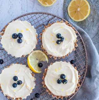 four raw lemon tarts