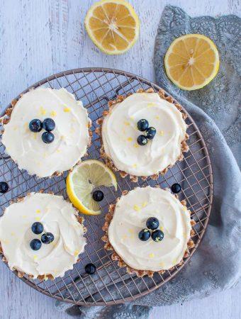 four raw lemon tarts