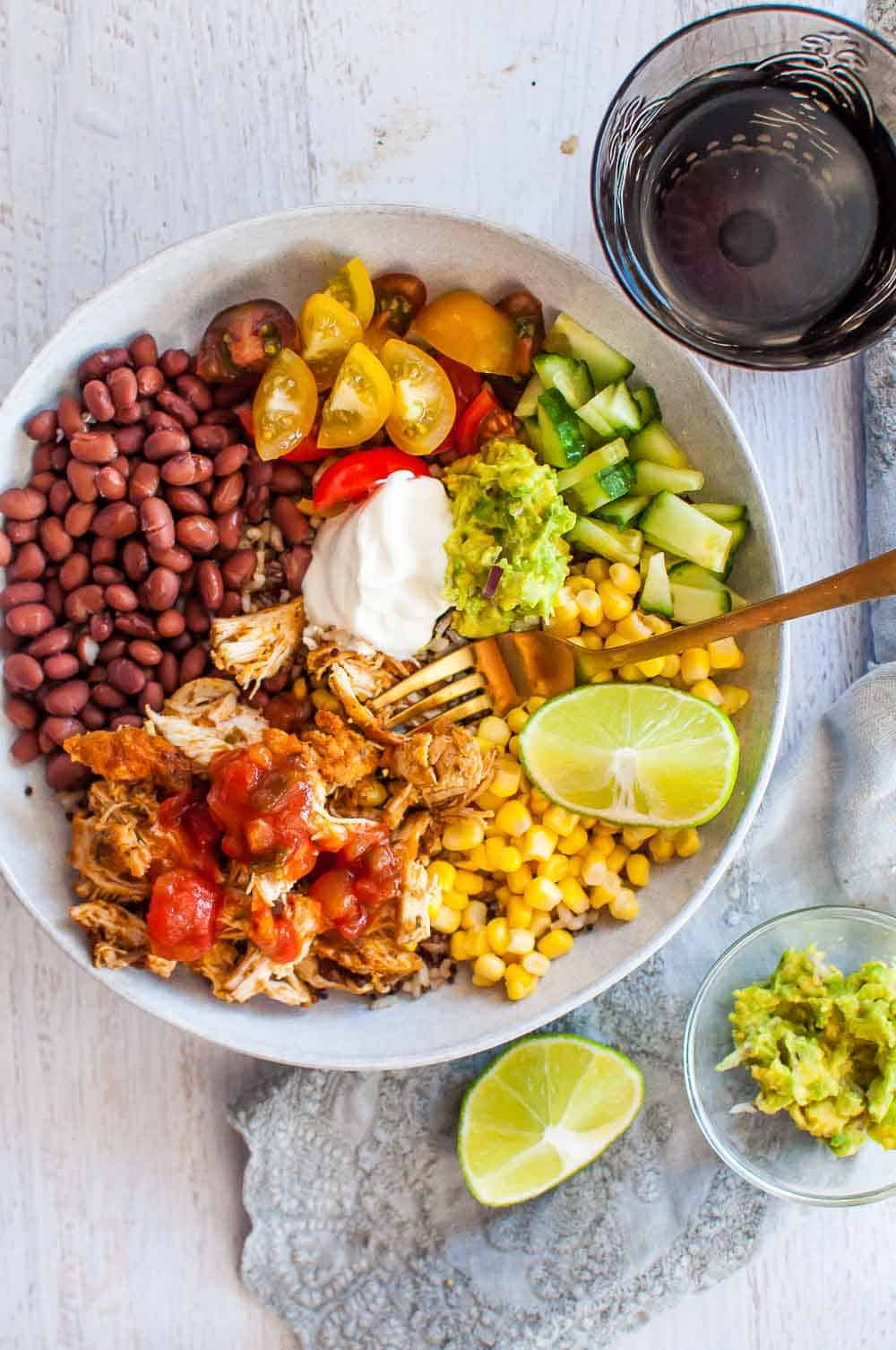 Pilled chicken burrito bowl with lime
