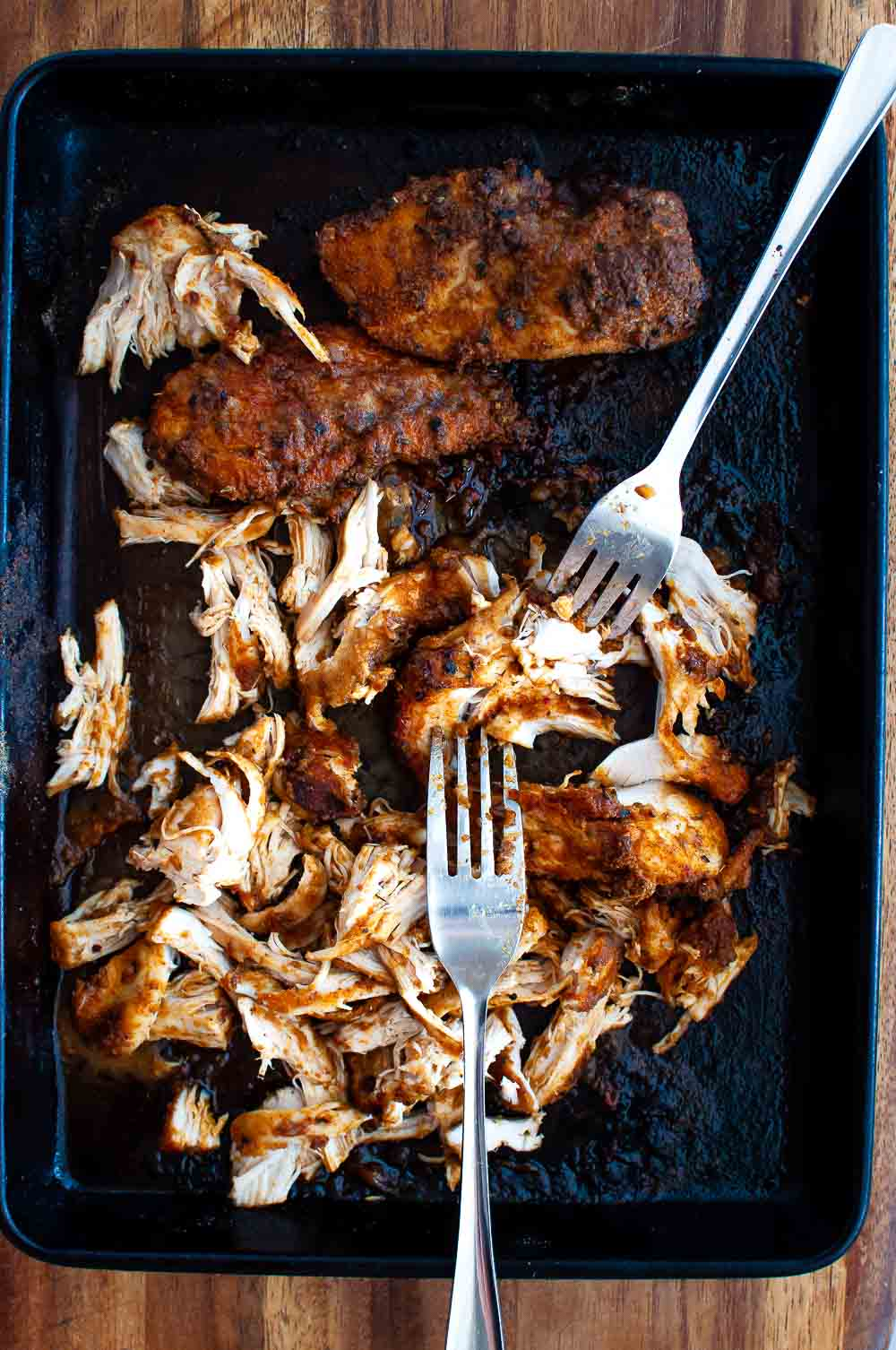 pulled mexican chicken in baking tray