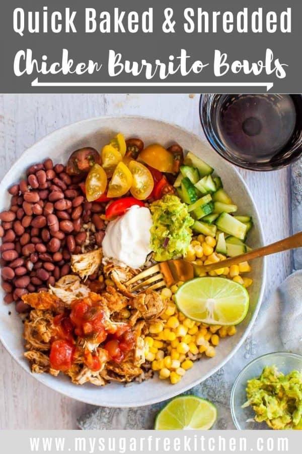 Shredded Chicken Burrito Bowl-pinterest