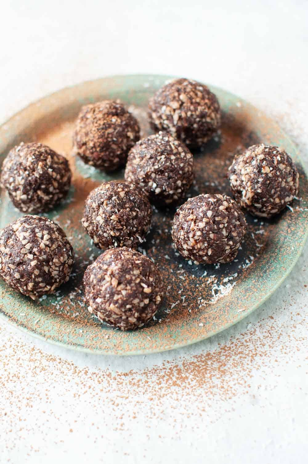 Nut free bliss balls on a plate