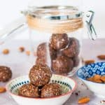 almond butter bliss balls in a bowl