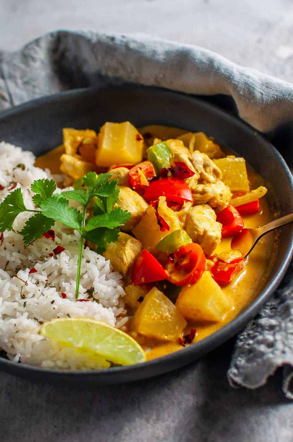 pineapple chicken curry in a bowl ready to eat