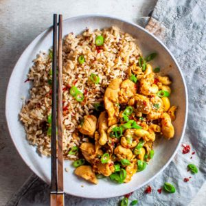 Healthy honey chilli chicken with cashews