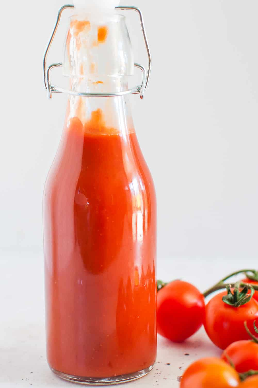 sugar free ketchup in a glass bottle