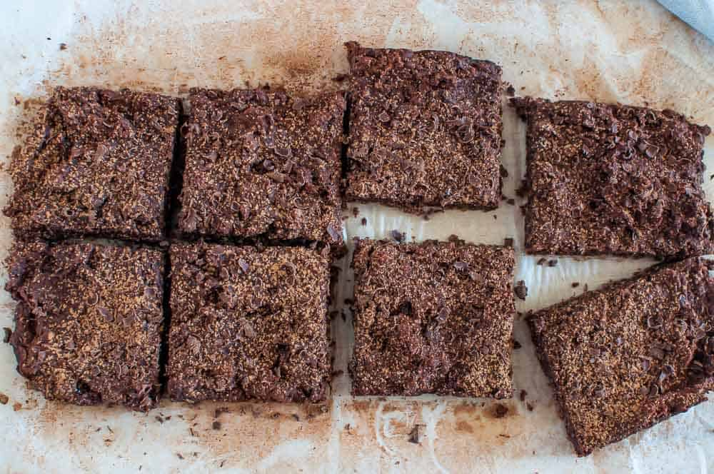 A tray of dairy free brownies