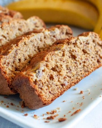 slices of oat flour banana bread