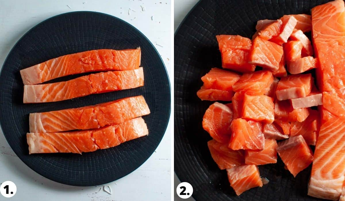 Raw Salmon on a black plate