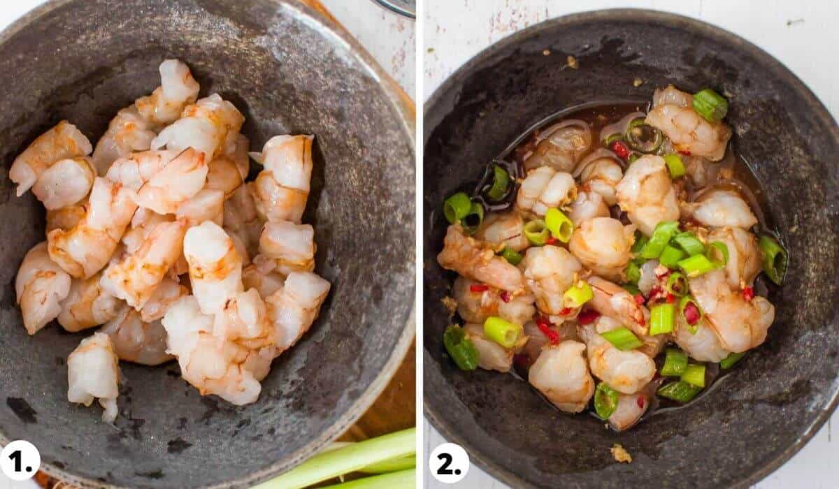 Uncooked Prawns in bowl