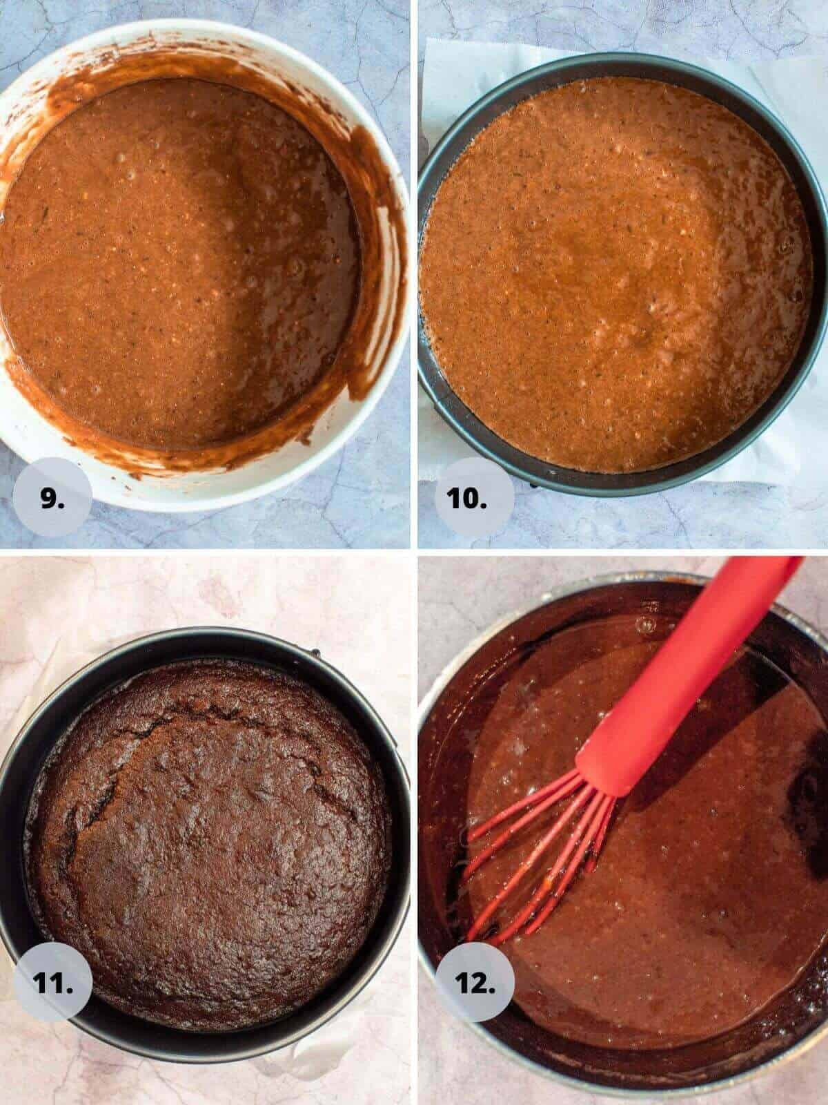 chocolate date cake batter in cake tin