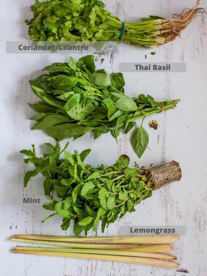 essential herbs for prawn salad