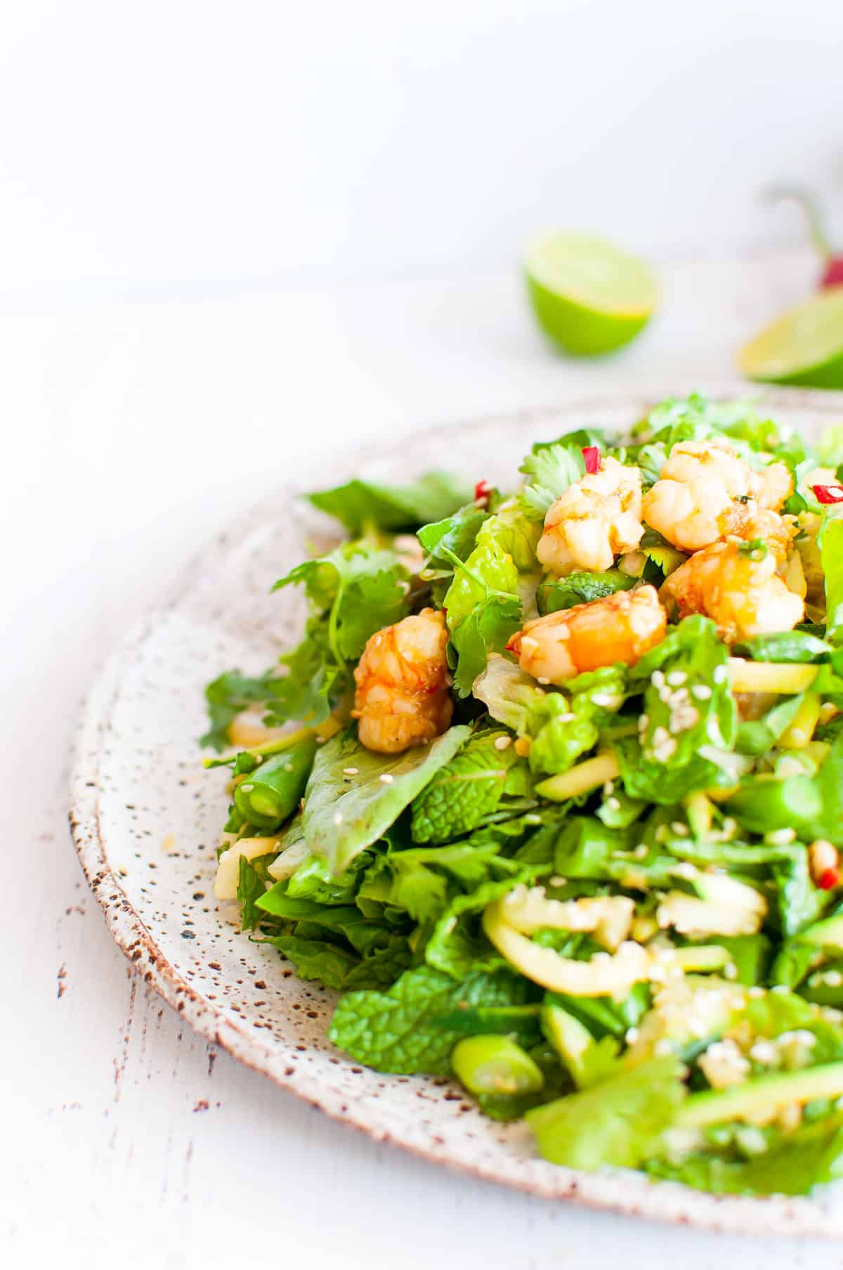thai prawn salad with lime