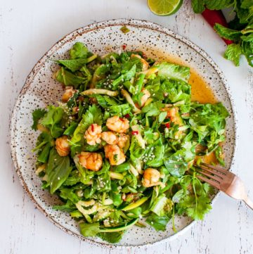 Thai Prawn - Shrimp Salad on a plate