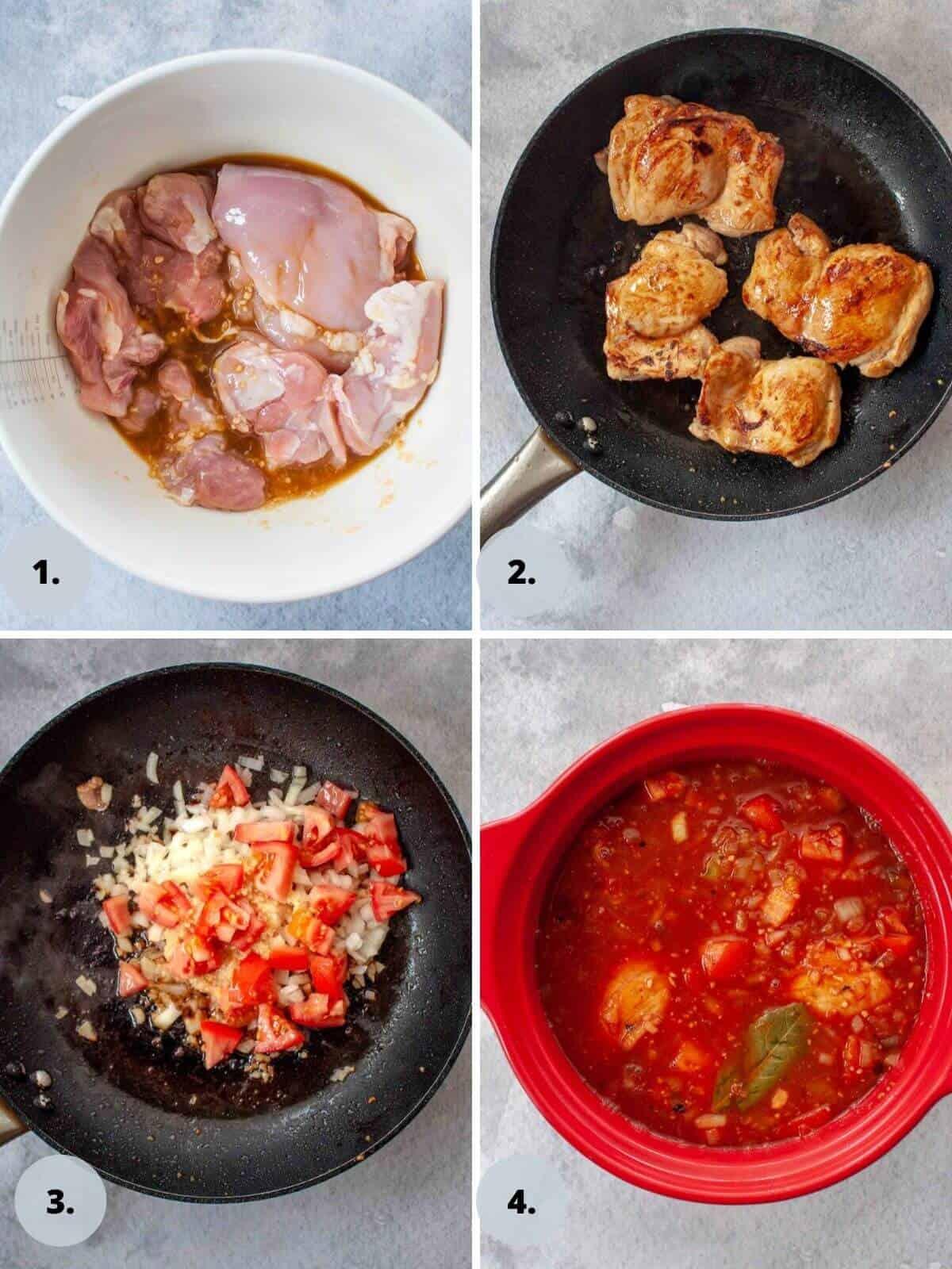 Marinating and browning chicken afritada