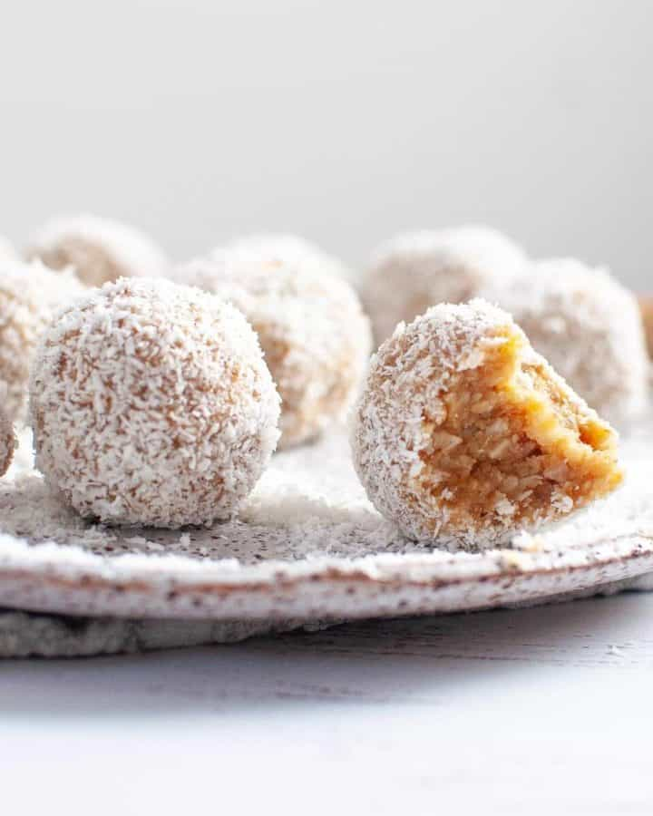 Coconut bliss balls on a plate