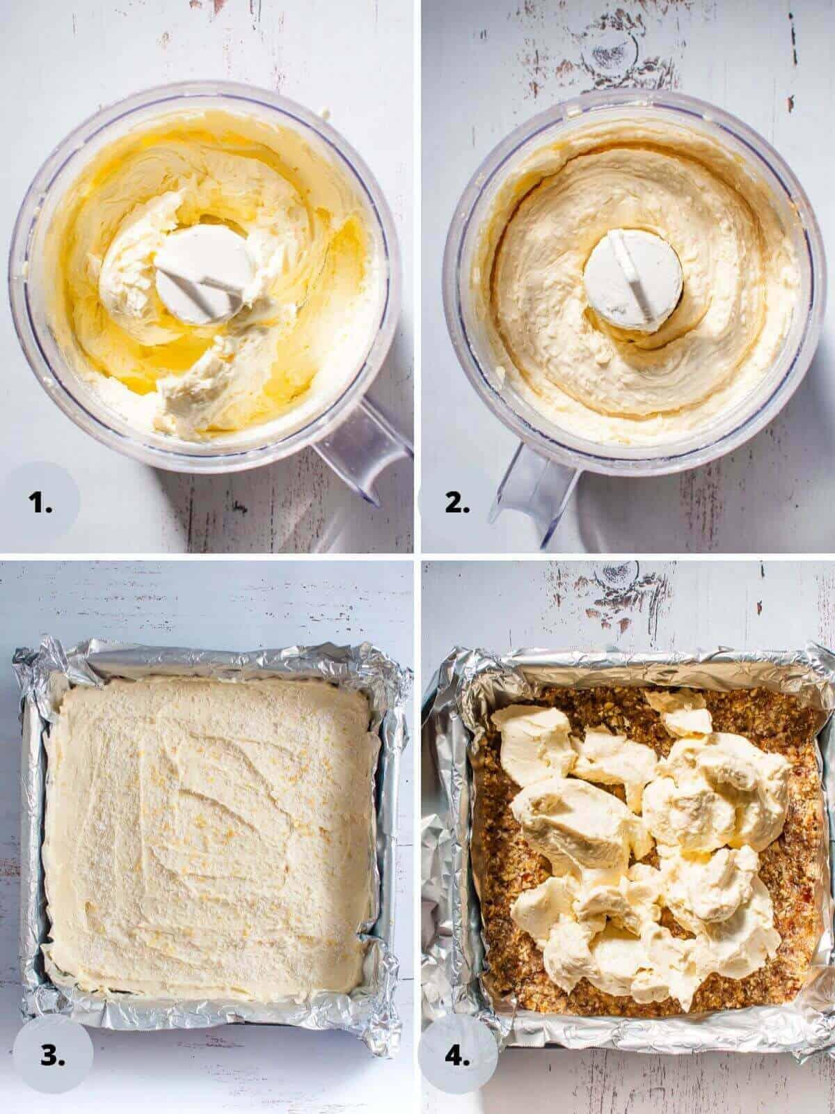 Lemon coconut slice filling in food processor