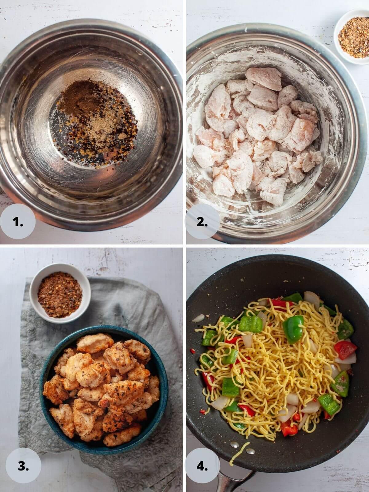 salt and chilli chicken process shots