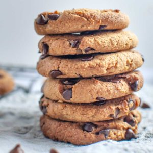 Stacked chickpea chocolate chip cookies