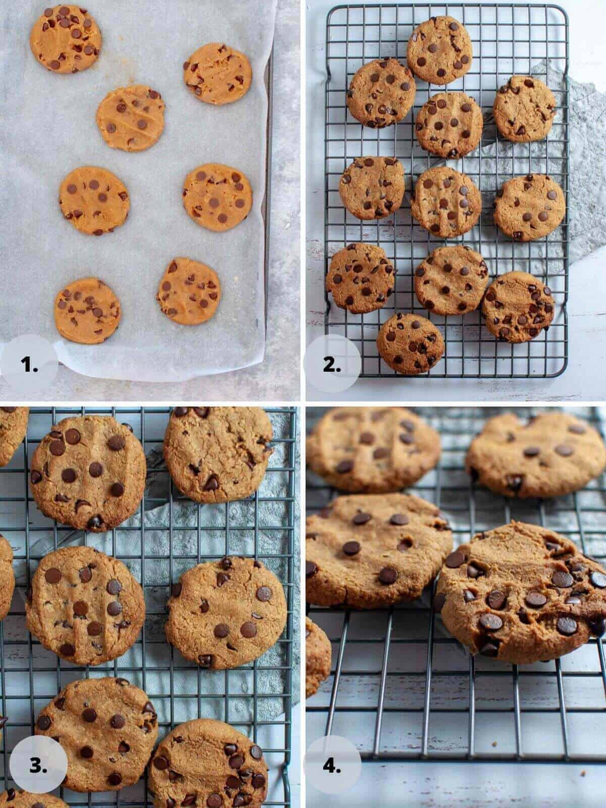 Chickpea chocolate chip cookies before and after baking