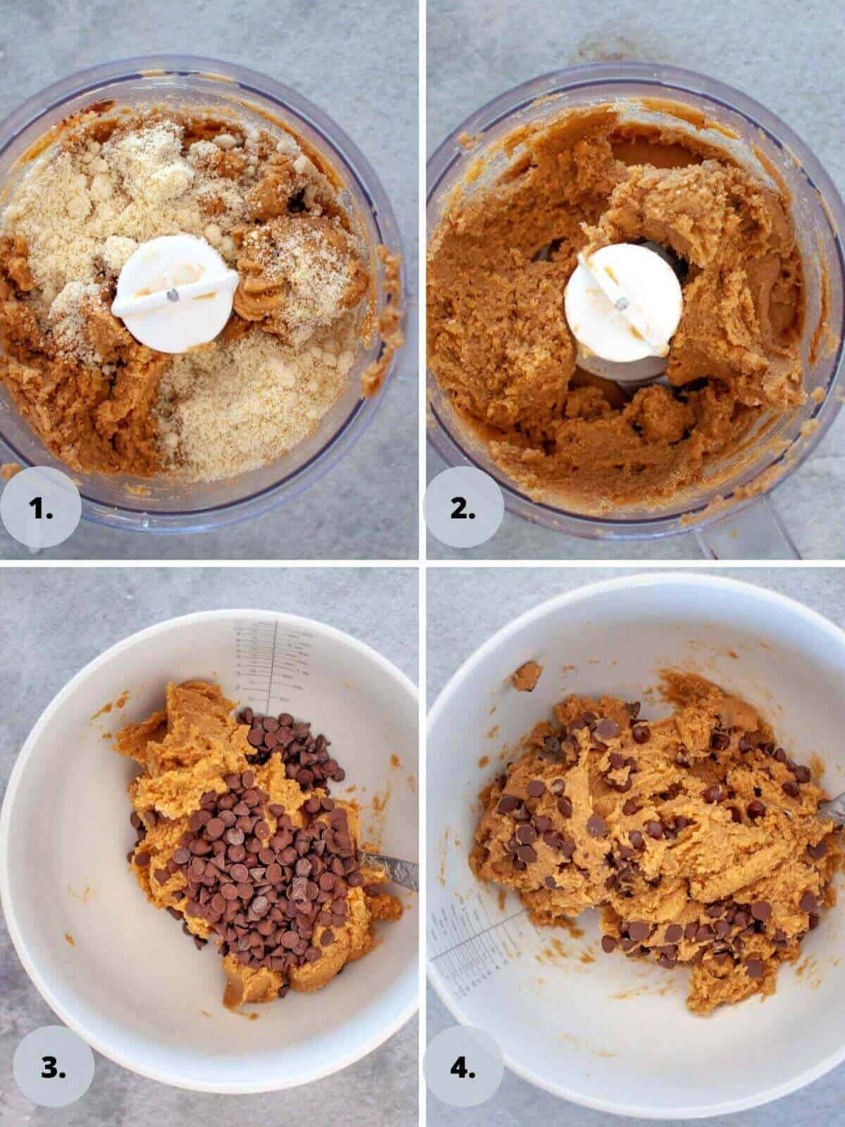 Making chickpea chocolate chip cookies