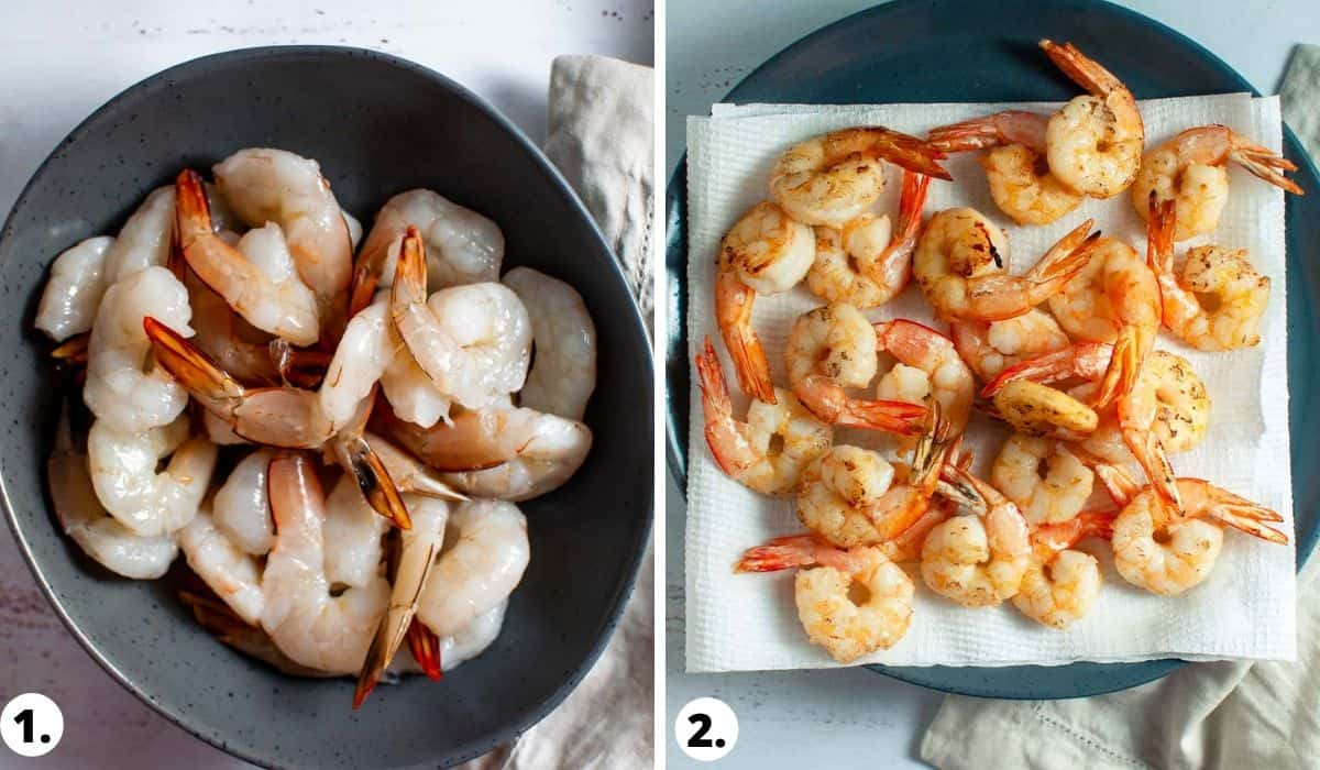 cooking prawns before and after