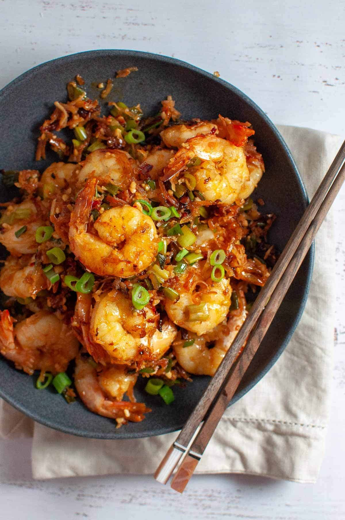 Butter prawn with chopsticks