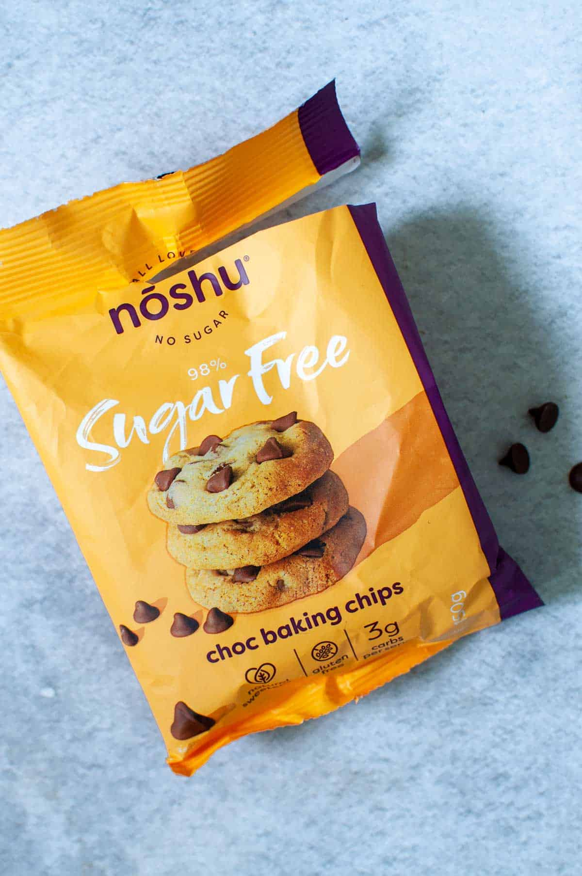 A packet of NoShu sugar free chocolate chips