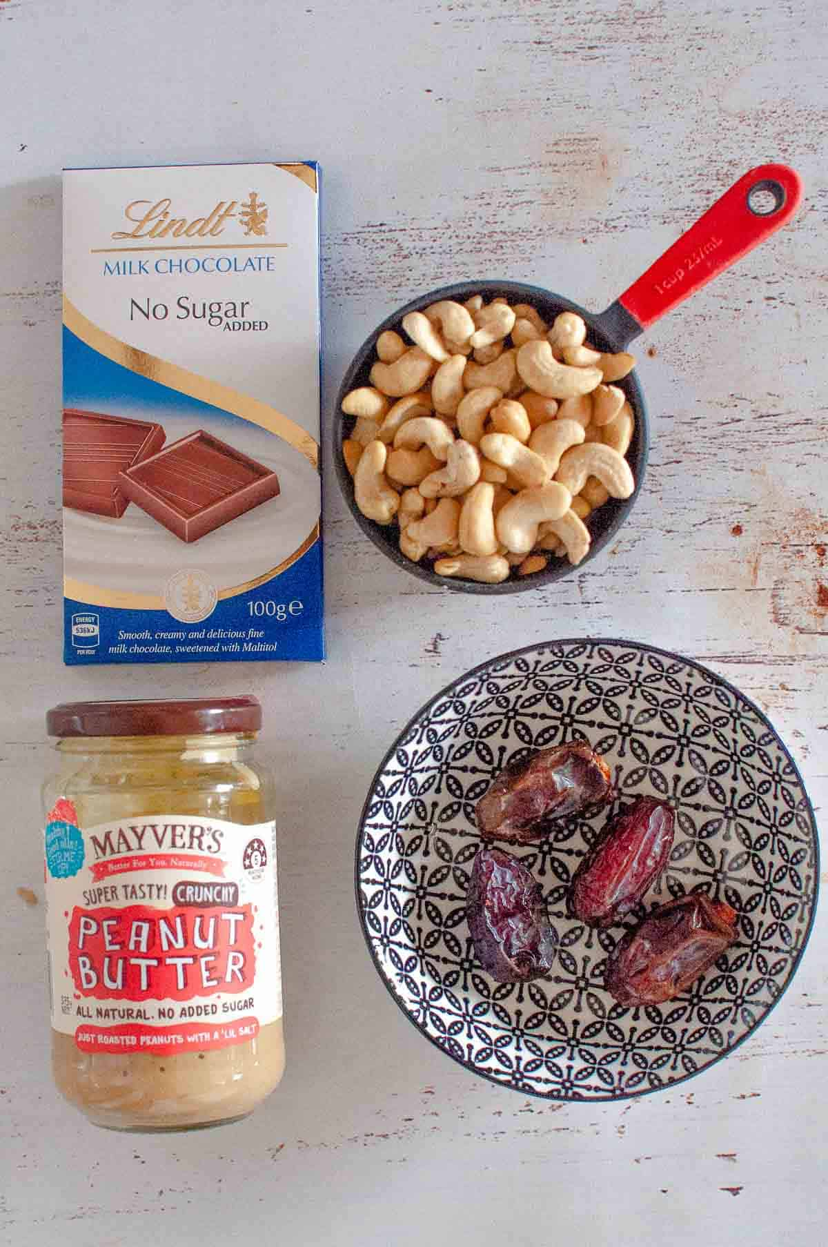 chocolate, cashews, medjool dates and no added sugar peanut butter