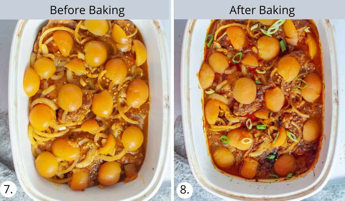 apricot chicken before and after baking in oven