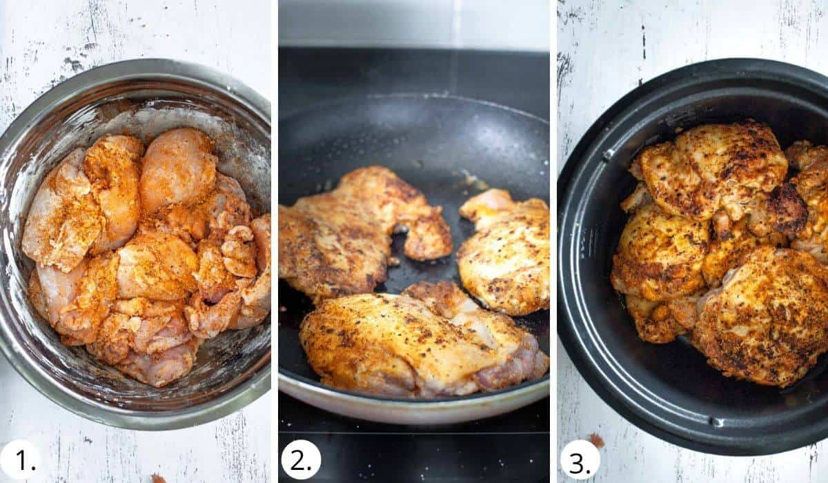 Browning chicken in a pan