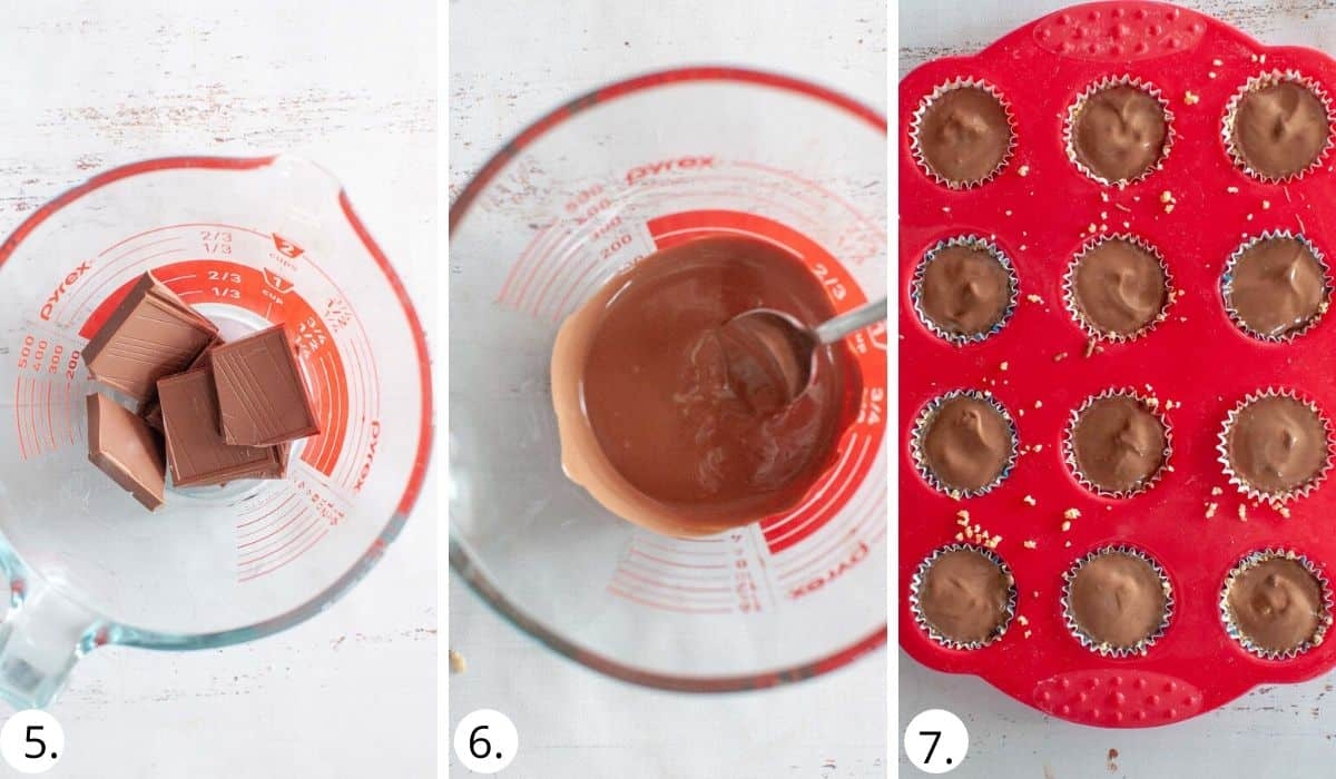 melting the chocolate and adding to the cups