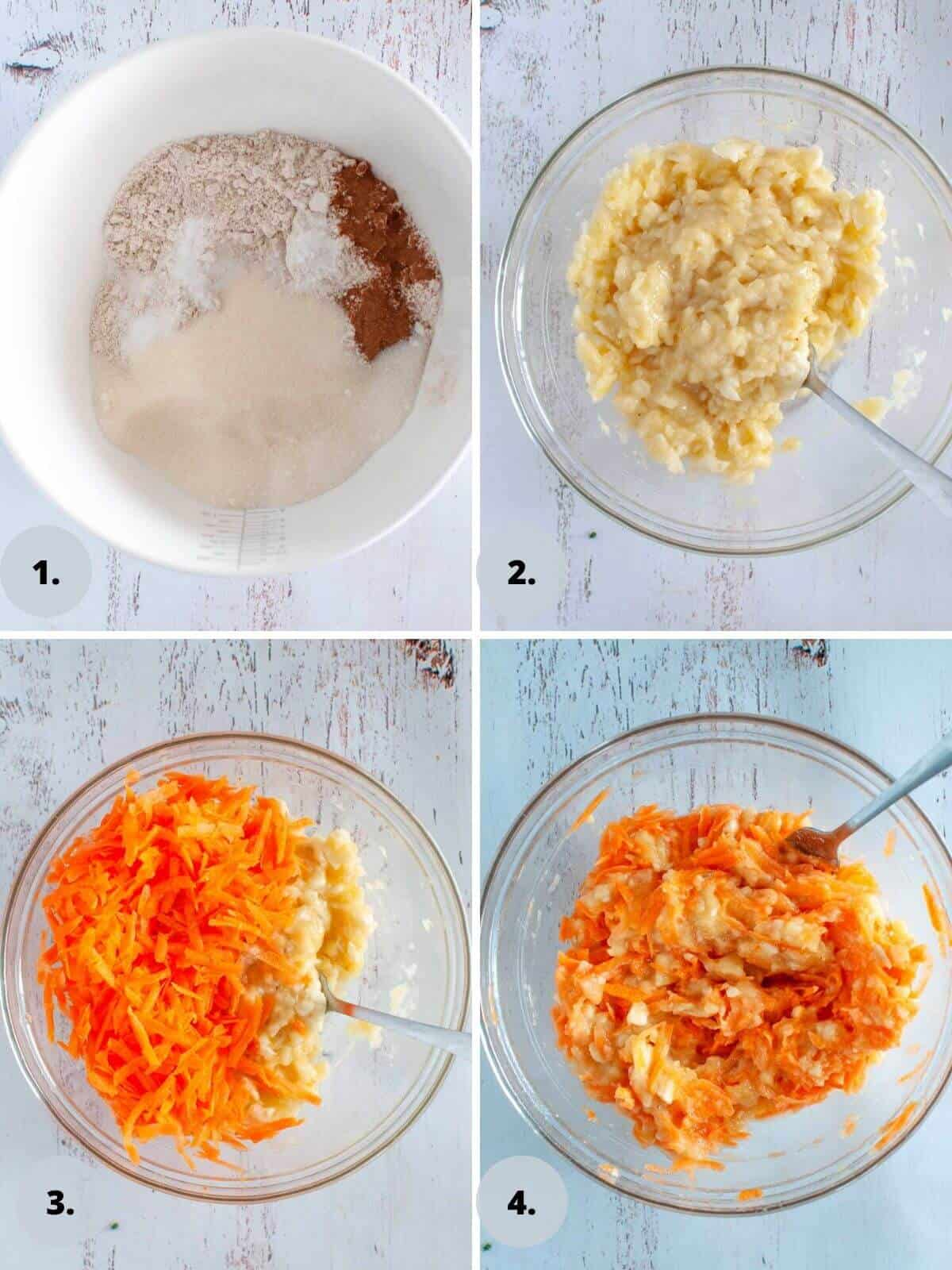 Preparing the dry ingredients and banana and carrot