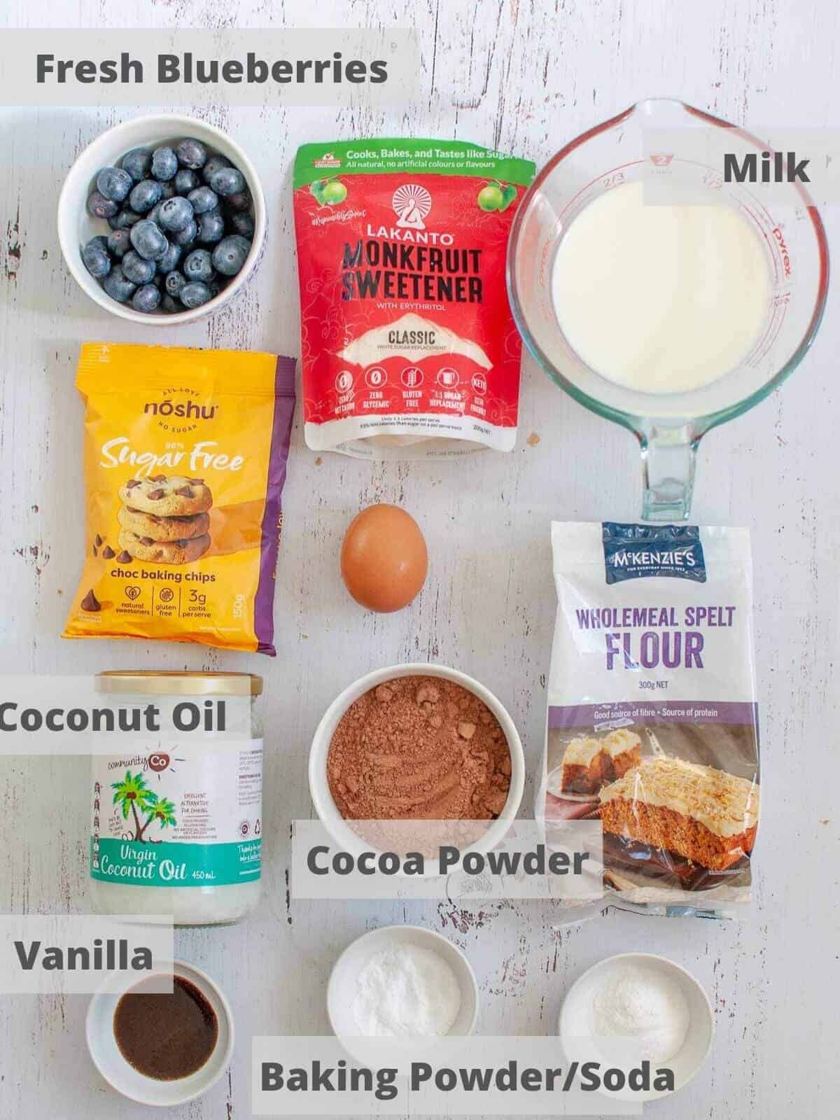 Chocolate blueberry muffin ingredients