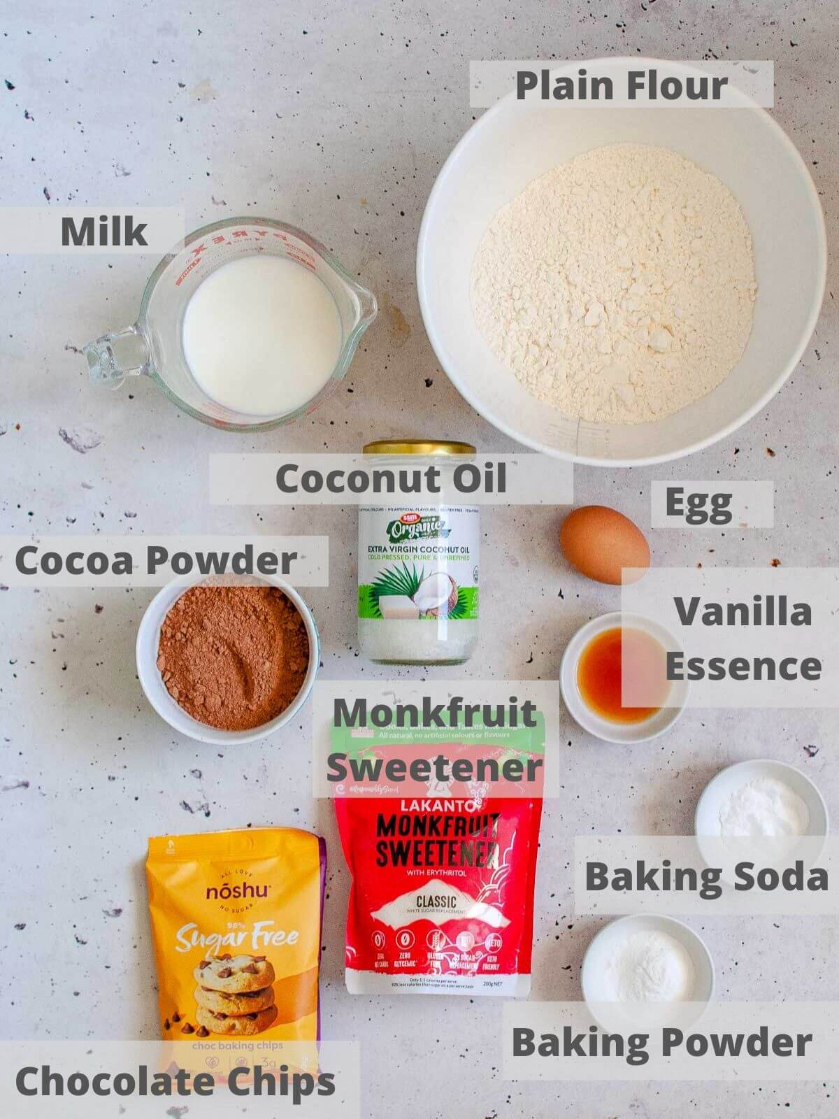 Ingredients for double chocolate muffins