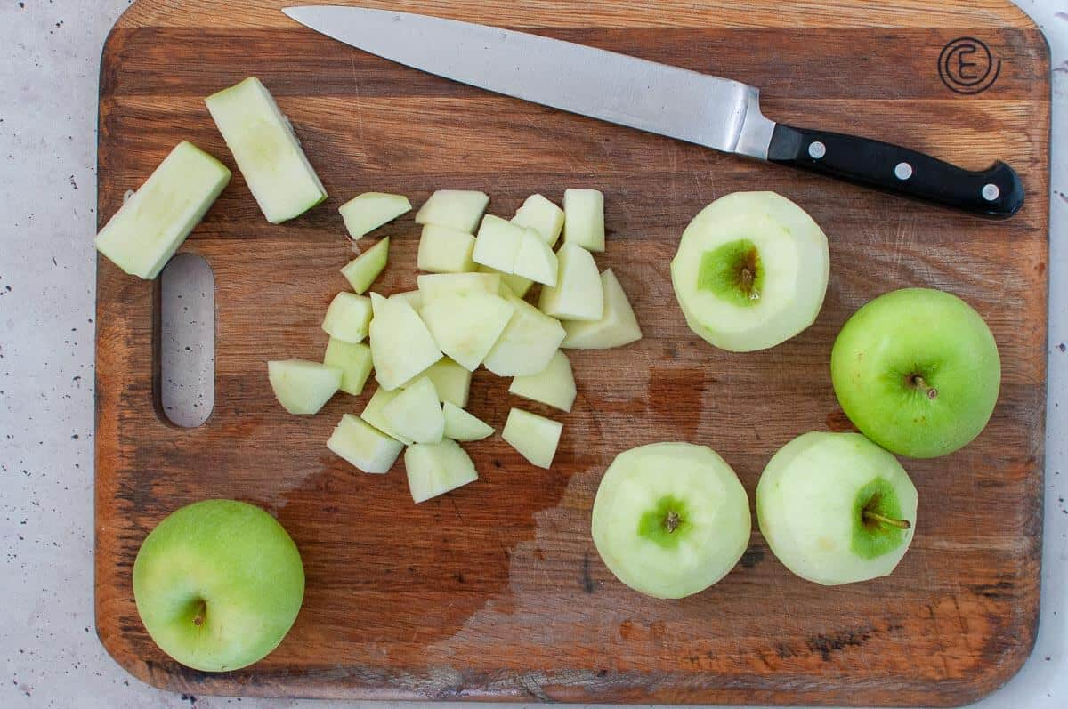 chopped apples on a cutting board