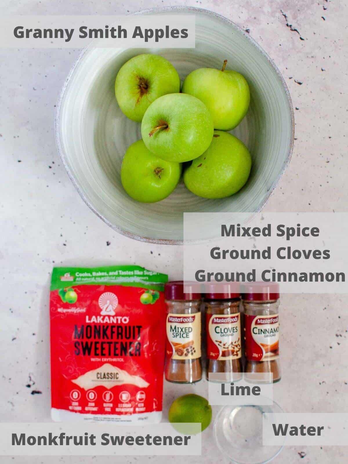 ingredients for stewed apples recipe