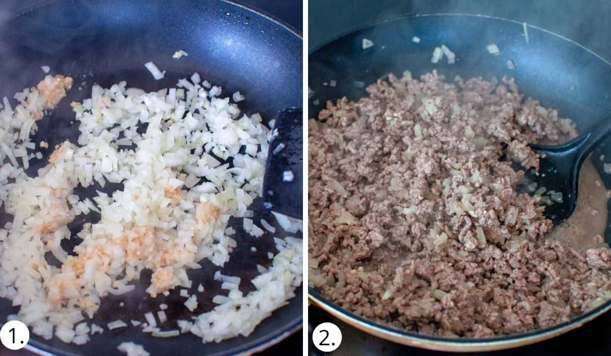 cooking onions, garlic and beef mince in a pan